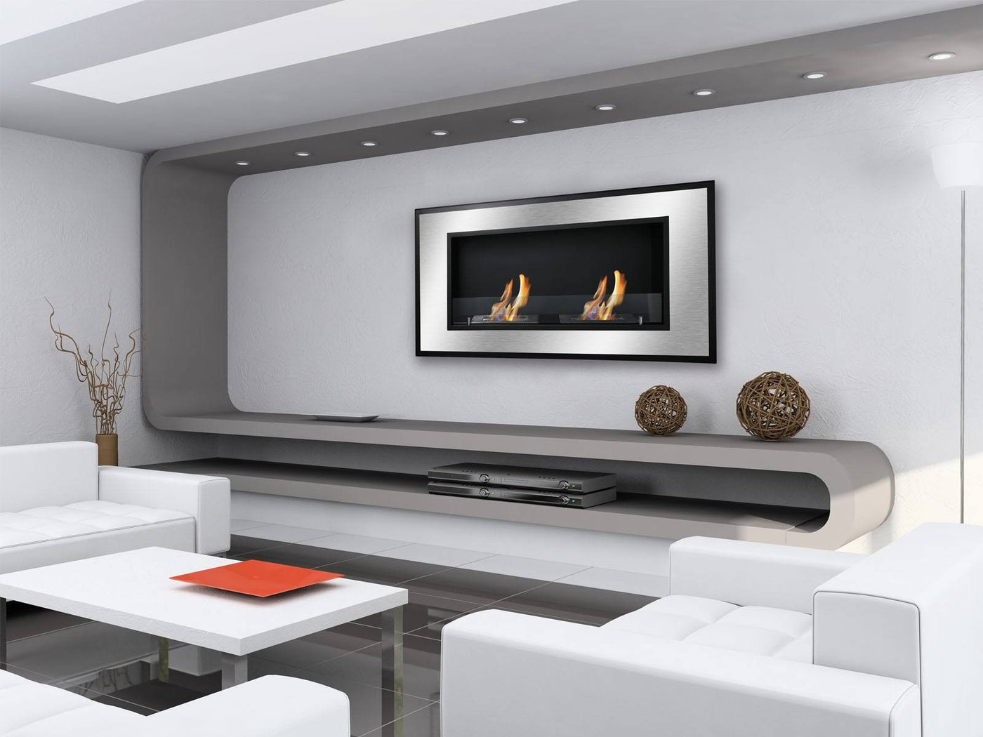 Ignis Bellezza Wall Mounted / Recessed Ventless Ethanol Fireplace ...