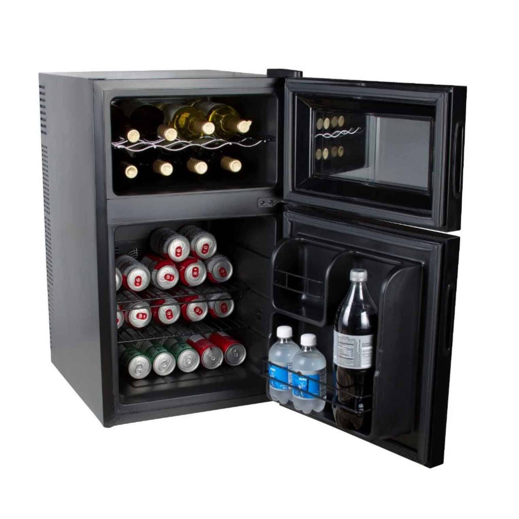 Kalorik Black 2-in-1 Eco-Friendly Mini-Fridge and Wine Chiller - Fire + Pit