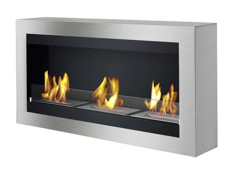 Ignis Magnum Wall Mounted Ventless Ethanol Fireplace with Glass Barrier - Fire + Pit