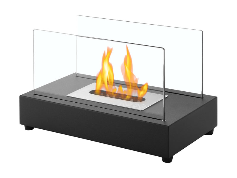 Ignis Tower Black Tabletop Ventless Ethanol Fireplace - Fire + Pit
