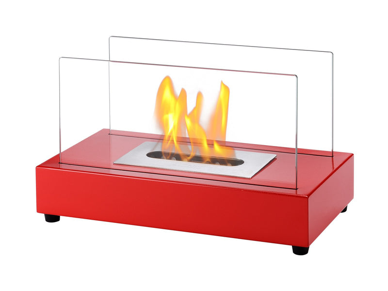 Ignis Tower Red Tabletop Ventless Ethanol Fireplace - Fire + Pit