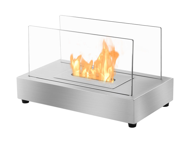 Ignis Tower SS Tabletop Ventless Ethanol Fireplace - Fire + Pit