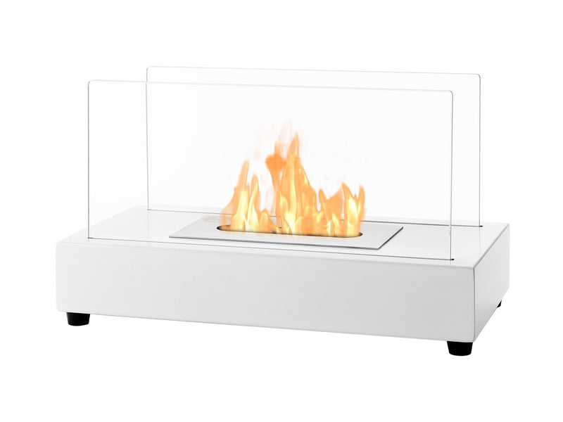 Ignis Tower White Tabletop Ventless Ethanol Fireplace - Fire + Pit