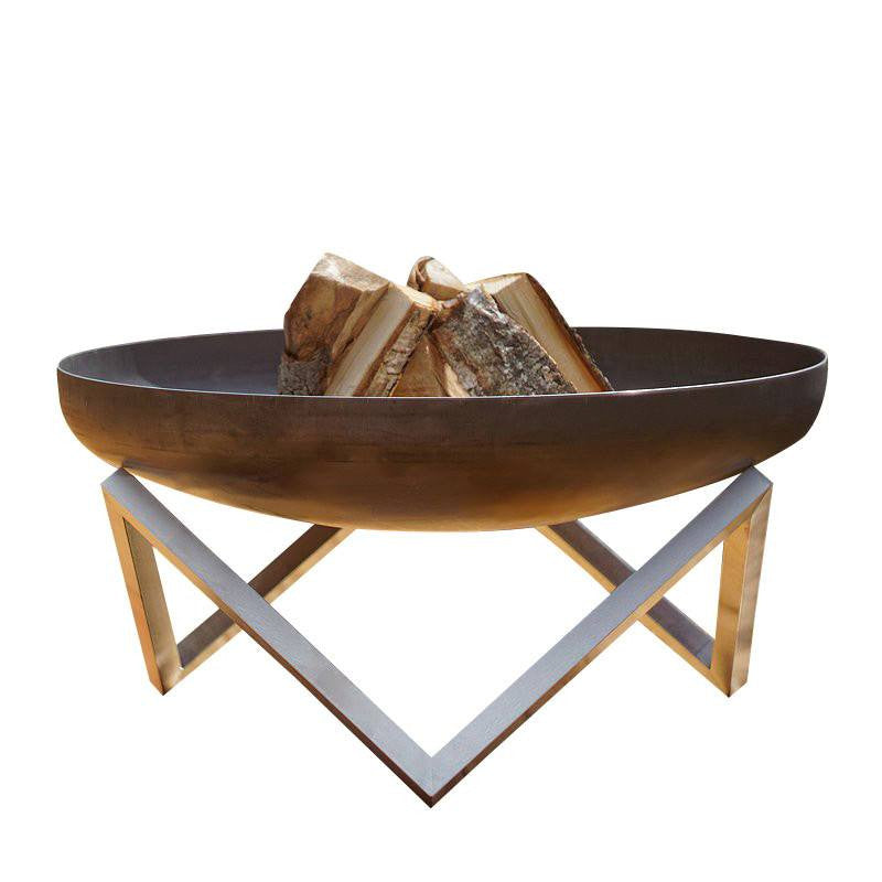 Curonian Solid Rusting Steel Fire Pit Memel - Large - Fire + Pit