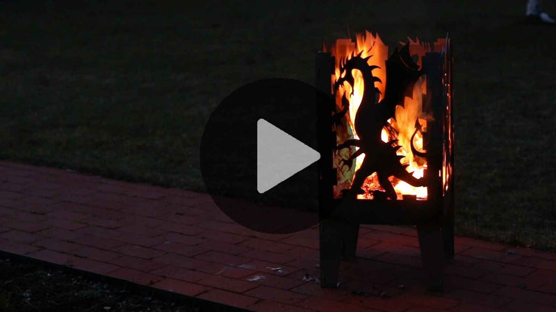Curonian Fire Basket Dragon Solid Steel Wood Burning Fire Pit - Fire + Pit