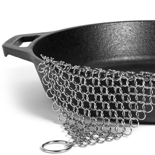 7x7 Inch Cast Iron Cleaner Premium Stainless Steel Chainmail Scrubber