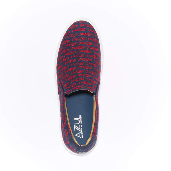 The Faro <br/>Navy Canvas <br/>Red Embroidery