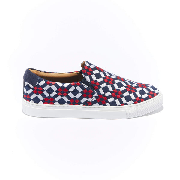 The Faro <br/>Navy Canvas <br/>Red & White Embroidery