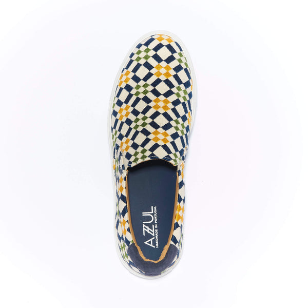 The Faro <br/>Natural Canvas <br/>Navy, Yellow & Green Embroidery