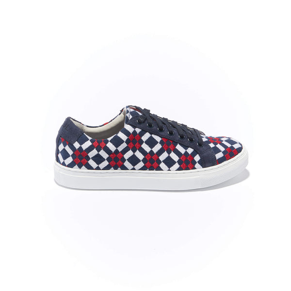 The Layered Braga  <br/>Navy Canvas with Navy Suede  <br/>Red & White Embroidery