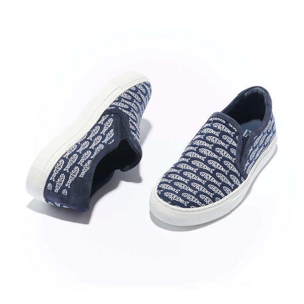 Trimmed Faro Slip-On<br/>Navy Canvas with Navy Suede <br/>White Embroidery