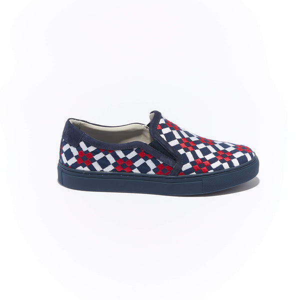 Trimmed Faro Slip-On <br/>Navy Canvas with Navy Suede <br/>Red & White Embroidery <br/>Navy Sole