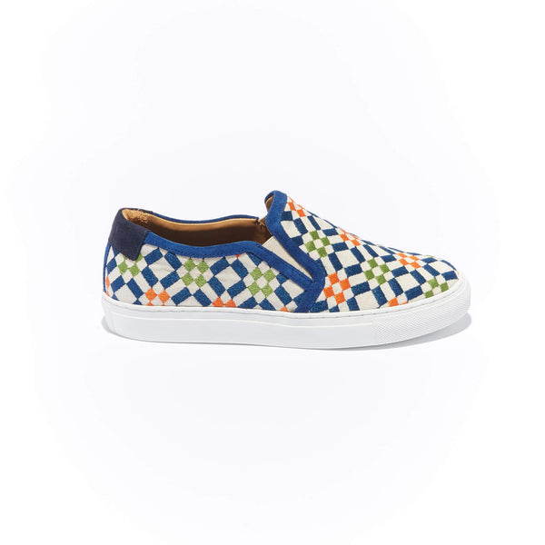 Trimmed Faro Slip-On <br/>Natural Canvas with Navy Suede <br/>Navy, Orange & Green Embroidery