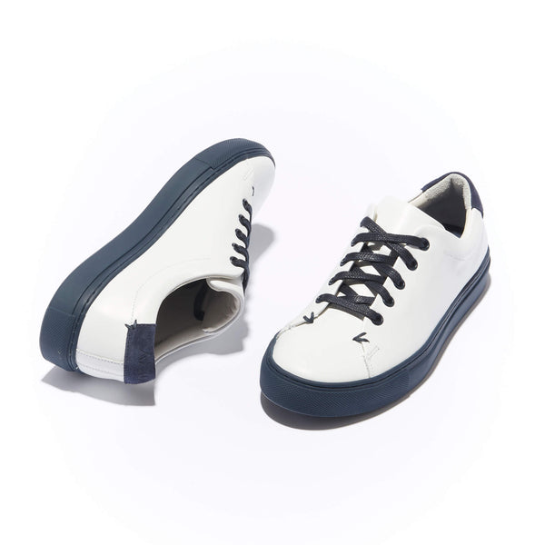 Women's Classic Braga <br/>White Leather <br/>Navy Margom Sole