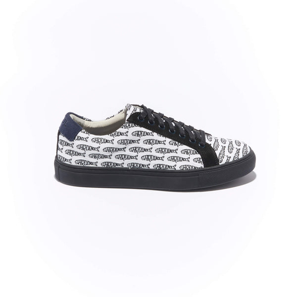 The Layered Braga  <br/>White Canvas with Black Suede <br/>Black Embroidery <br/>Black Sole