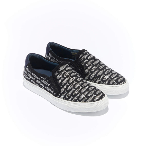 Trimmed Faro Slip-On <br/>Black Canvas with Black Suede <br/>Silver Embroidery