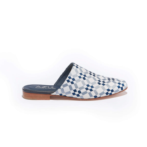 Geometric Embroidered Mule <br/>White Canvas <br/>Arctic Blue & Navy Embroidery
