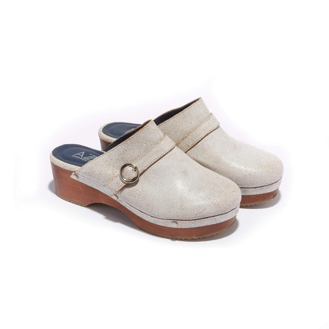 Traditional Clog <br/>Vintage White Leather <br/>Carved Alder Wood Heel