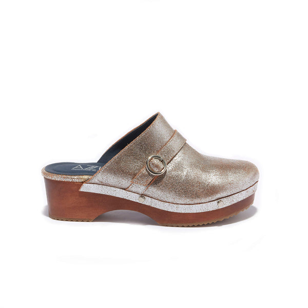 Traditional Clog <br/>Vintage Silver Leather <br/>Carved Alder Wood Heel