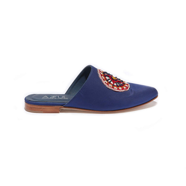 Hand Embroidered Mule <br/>Blue Imported Nylon