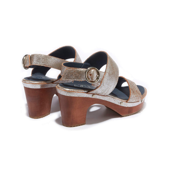 Banded Clog Sandal <br/>Vintage Silver Leather <br/>Carved Alder Wood Heel