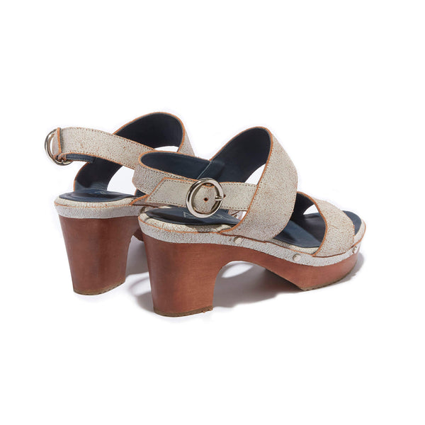 Banded Clog Sandal <br/>Vintage White Leather <br/>Carved Alder Wood Heel