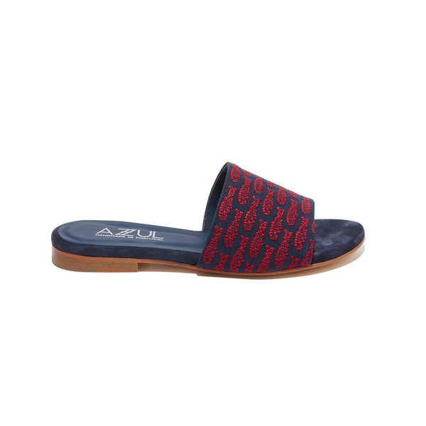 Embroidered Band Slide<br/>Navy Canvas<br/>Red Embroidery