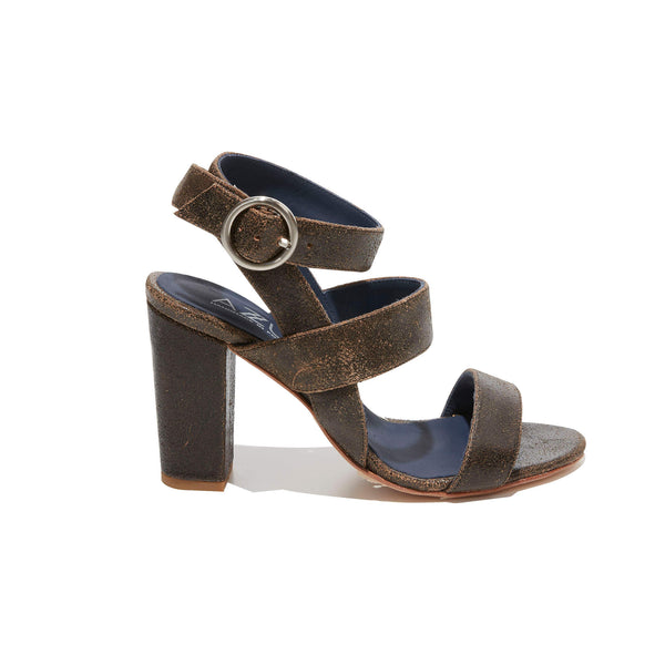 Ankle Strap Sandal <br/>Vintage Black Leather