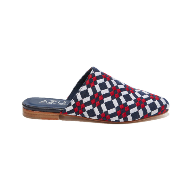 Geometric Embroidered Mule <br/>White Canvas <br/> Blue, Red & White Embroidery