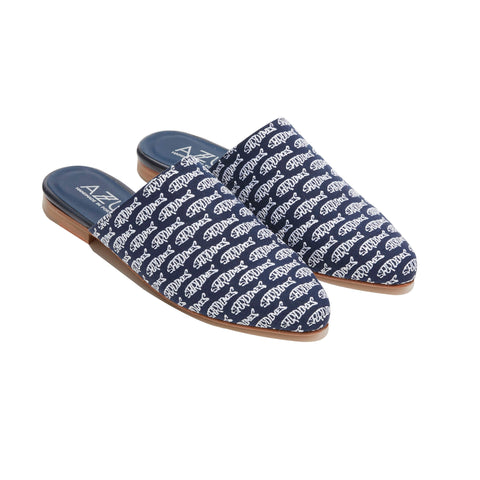 Sardine Embroidered Mule<br/>Navy Canvas<br/> White Sardine Embroidary