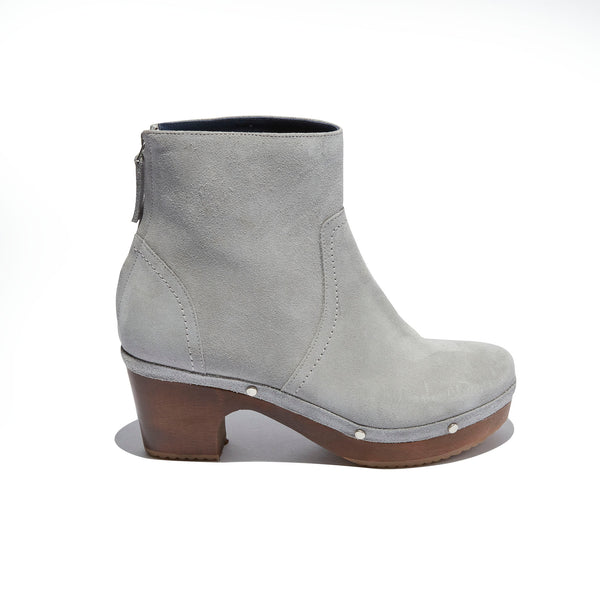 Clog Heeled Boot <br/>Grey Suede <br/>Carved Alder Wood Heel