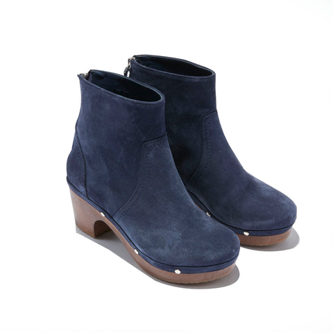 Clog Heeled Boot <br/>Navy Suede <br/>Carved Alder Wood Heel