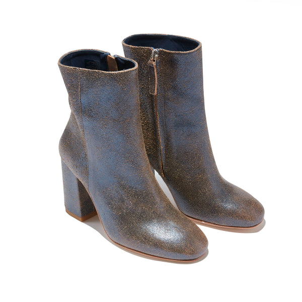 Short Heeled Boot <br/>Vintage Navy Leather