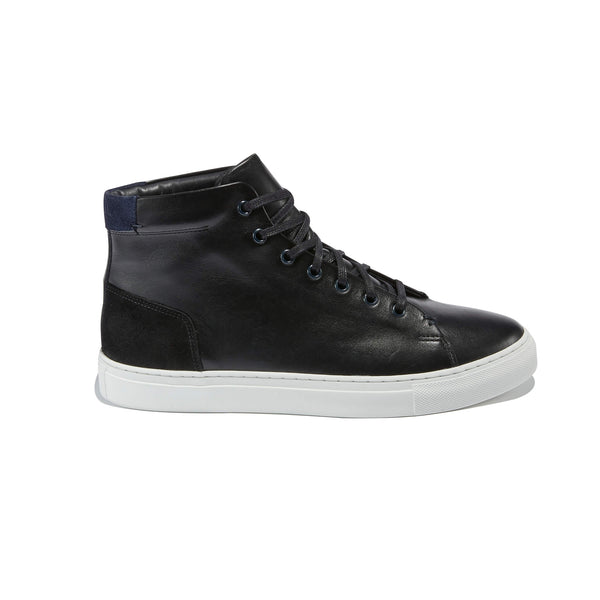 The Porto <br/>Black Leather High-Top  <br/>Suede Layering Detail