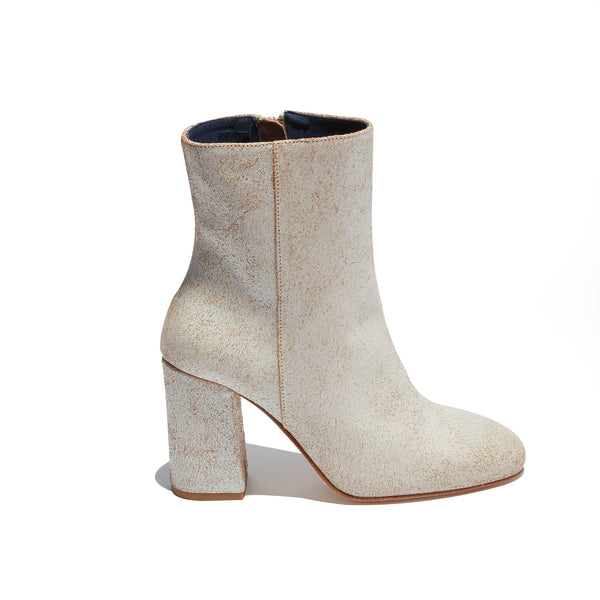 Short Heeled Boot <br/>Vintage White Leather