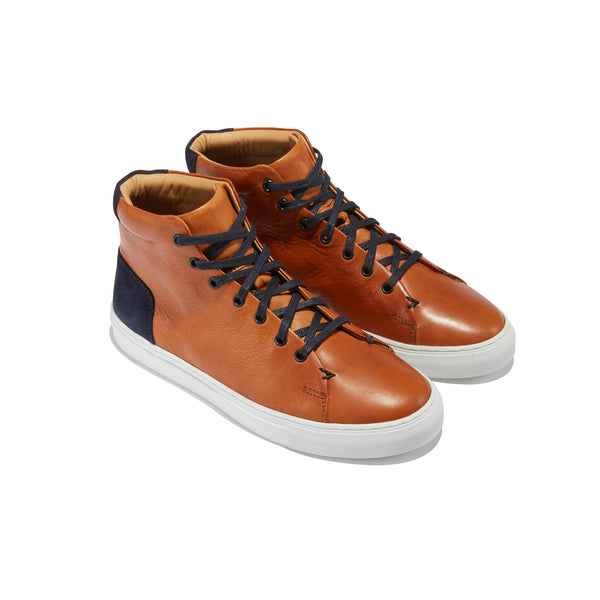 The Porto <br/>Cognac Leather High-Top  <br/>Navy Suede Layering Detail