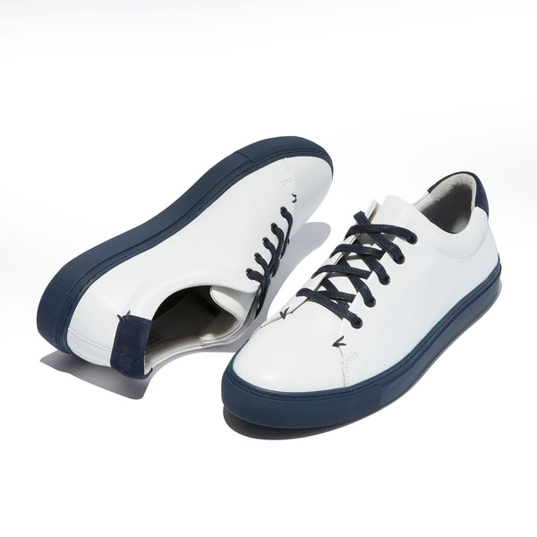 The Braga <br/>White Leather <br/>Navy Sole