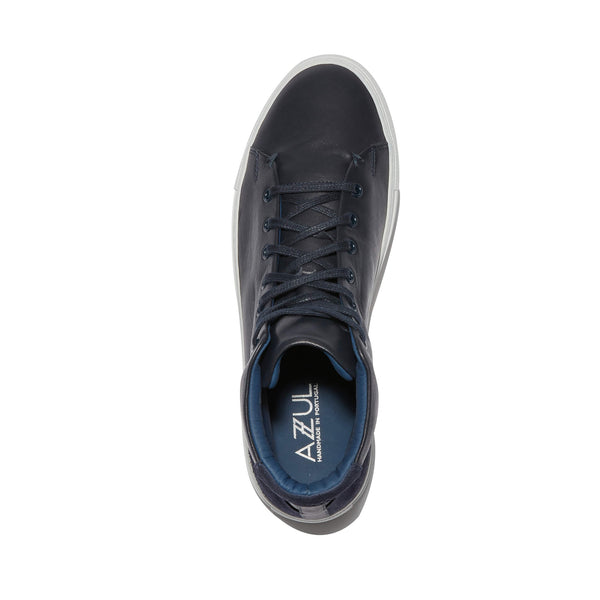 The Porto <br/>Navy Leather High-Top  <br/>Navy Suede Layering Detail