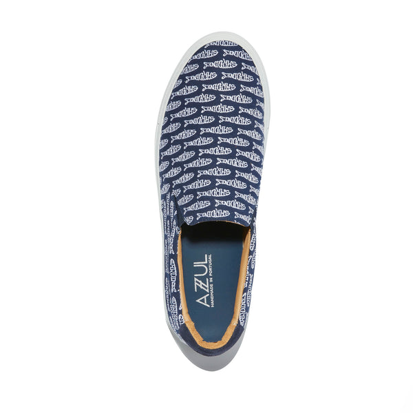The Faro <br/>Navy Canvas <br/>White Embroidery