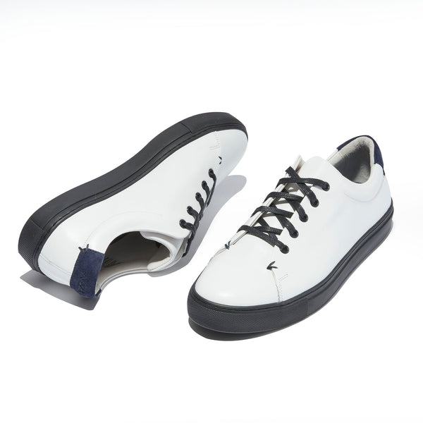 The Braga <br/>White Leather <br/>Black Sole