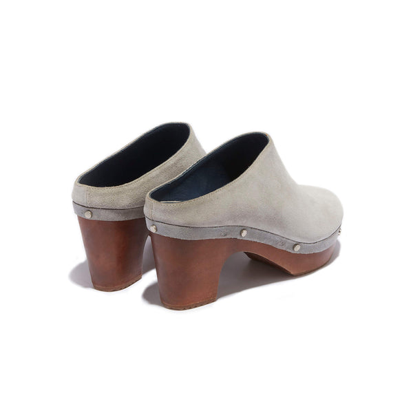 Mule Clog <br/>Grey Suede <br/>Carved Alder Wood Heel