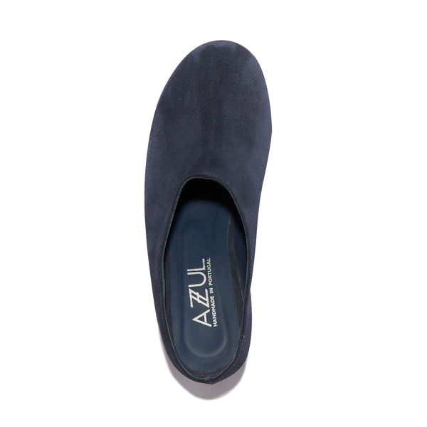 Mule Clog <br/>Navy Suede <br/>Carved Alder Wood Heel