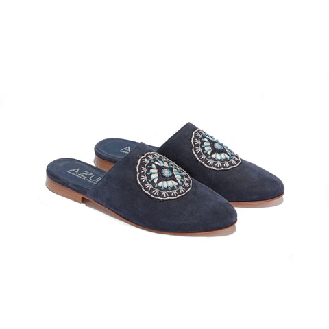 Hand Embroidered Mule <br/>Navy Suede