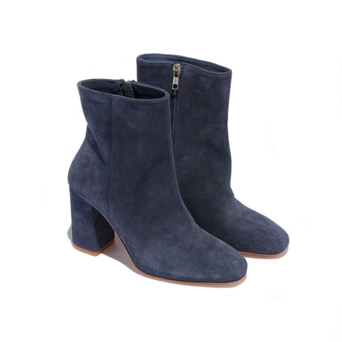 Short Heeled Boot <br/>Navy Suede