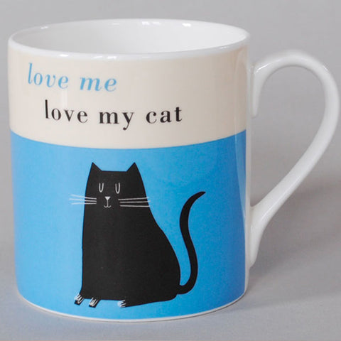 Happiness Black Cat Mug - Turquoise
