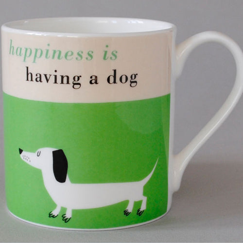 Happiness Sausage Dog Mug - Green