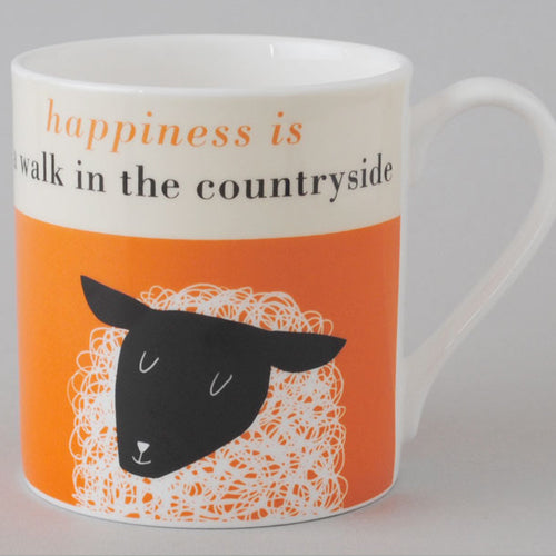 Happiness Sheep Mug - Orange
