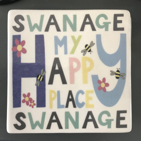 Moorland Pottery - Swanage Happy Place Coaster