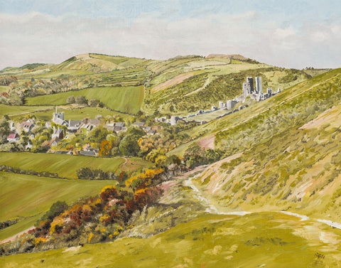 Richard Hooke - Above Corfe Castle From Challow Hill