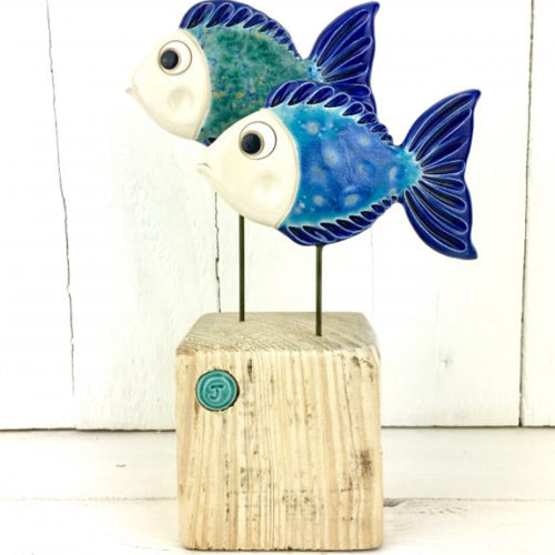 Jane James - Duo of Medium Blue Fish